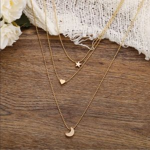 Jewelry - 🌙 Triple Layered Star Heart Moon Necklace 🌙